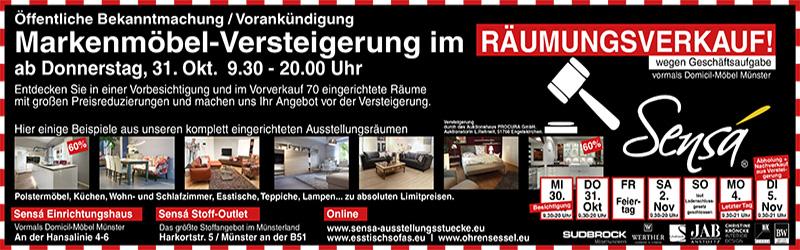 Versteigerung im Räumungsverkauf bei Sensá in Münster
