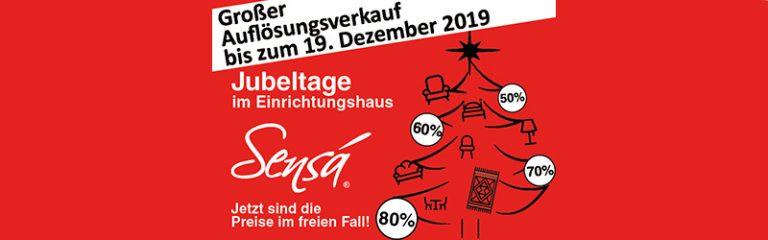 Großer Auflösungsverkauf bis zum 19. Dezember 2019 bei Sensá in Münster